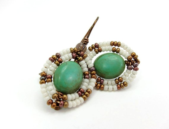 Turquoise Earrings, Egyptian Goddess, Bronze, White, Wire Wrapped Dangle