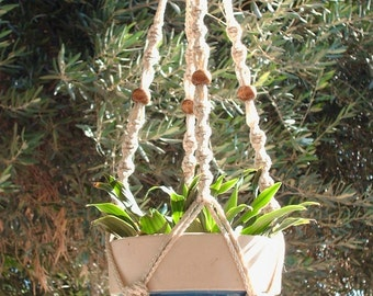 Macrame Plant Hanger 28 inch Button Knot with BEADS - 4mm Pearl