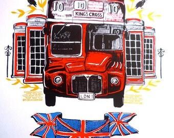 Original Screenprint  - London Routemaster - REDUCED PRICE