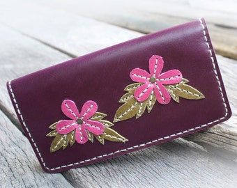 SALE, Hand Sewn Leather Wallet with Flower in Purple