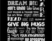 Classroom Rules 8x10 - Black and White