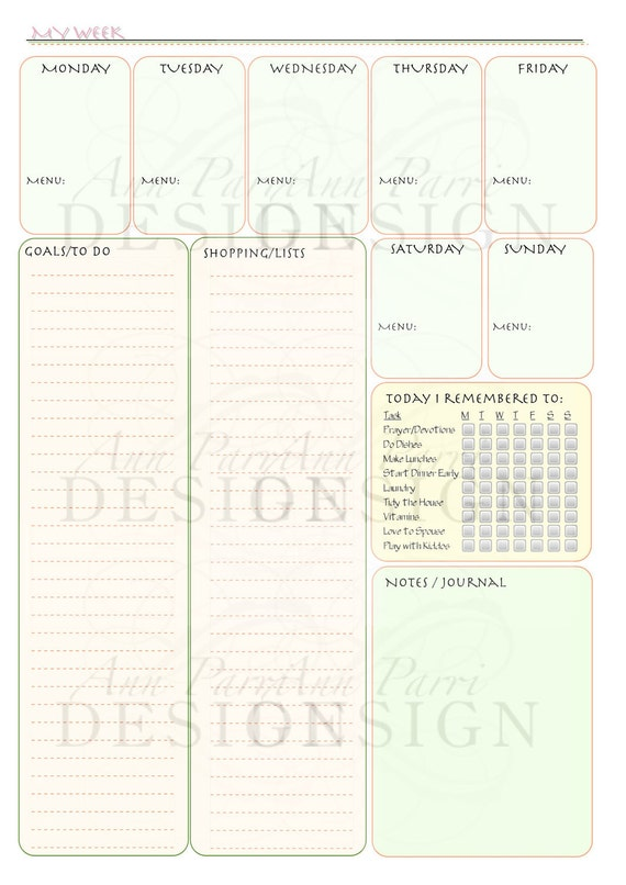 Printable Weekly Mom's Planner Form - Meals, Appointments, Shopping List, Goals, To Do List, Daily Reminders Checklist, Notes, Journal