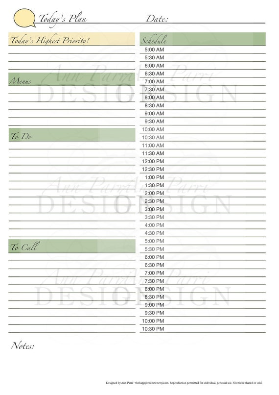 items similar to printable daily planner form