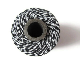Bakers Twine Black & White Striped - Twinery Charcoal - Invitation String Gift Wrap - Scrapbooking - Packaging Crafts - 240 Yards Full Spool