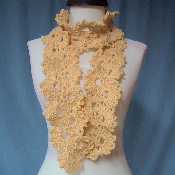 Lacy Scarf - Butter Color - Hand Crocheted - Soft Acrylic Yarn - Handmade - CLEARANCE 1/2 PRICE