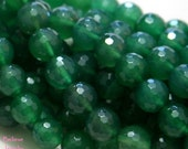 10mm Deep Emerald Green Faceted AGATE Genuine Gemstone Round Beads On Full Strand