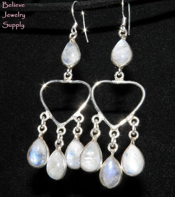 RAINBOW MOONSTONE Genuine Gemstones Dangle On Heart Handmade Earrings With 925 Sterling Silver Metals