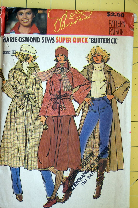Size 10, 12 & 14 Uncut Butterick 6269 Reversible Jacket Coat Belt Trench Loose FItting Marie Osmond Misses Women Sew Sewing Pattern