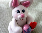 Polymer Clay Bunny With an Easter Egg