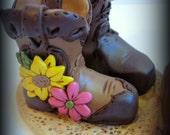 Wedding Cake Topper, Custom His and Her Cowboy Boots, Polymer Clay Wedding or Anniversary Keepsake