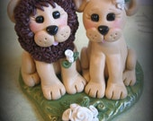 Wedding Cake Topper, Lion and Lioness, Custom Lion Polymer Clay Wedding/Anniversary Keepsake