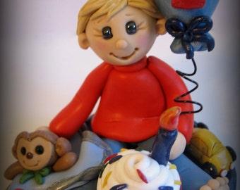 Polymer Clay Boy's First Birthday Cake Topper