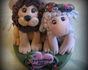 Wedding Cake Topper, Lion and Lamb Custom Polymer Clay Wedding or Anniversary Keepsake, Personalized