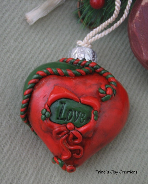 Christmas Ornament, Polymer Clay, Red and Green Rope, Love Ornament