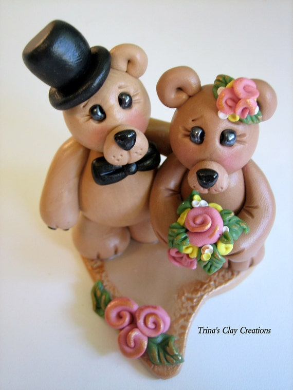Wedding Cake Topper Teddy Bear Polymer Clay Custom