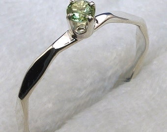Peridot Stackable Ring, Hammered Faceted Recycled Sterling Silver, August Birthstone