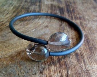 Smoky quartz  and rubber bracelet. Bangle bracelet. Quartz bracelet.