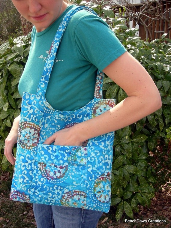 Turquoise Batik Tote Bag With Matching Pocket Tissue Holder and Eye Glass Case