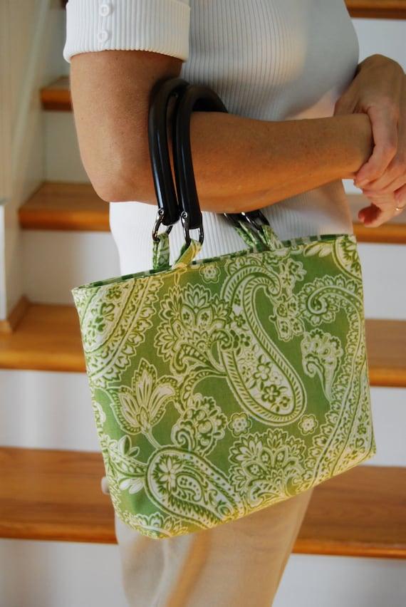 Green and White Paisley  Handbag