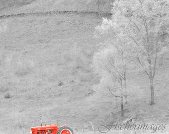 Red Tractor in Black and White Scenery Landscape  Wall Art Home Decor Digital Download Fine Art Photography