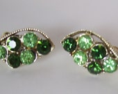 vintage two tone green gift for her rhinestone earrings