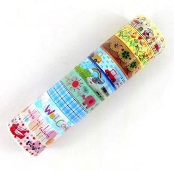 Deco Tape Stickers 10 ROLLS SET- Style SIX - Town, duck, polka dots, ribbon, train, truck, cloud, plaid