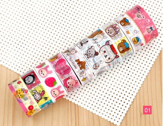 Rilakkuma bear Mini Deco Tape Adhesive Stickers 10 ROLLS SET 01 San-x