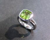 Cushion Peridot Engagement Ring in 14K White Gold