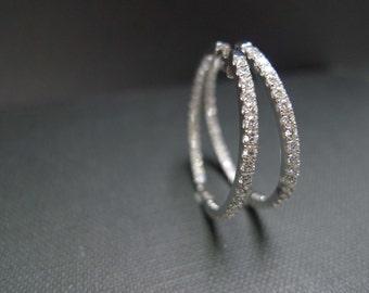Big Circle Hoop Diamond Earrings in 14K White Gold, Diamonds Jewelry, Hoop Earrings, Gold Earring, Bridal Earrings, Bridesmaid Earrings