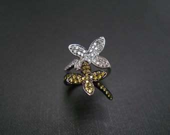 Diamond Butterfly Wedding Engagement Ring in 14K White Gold