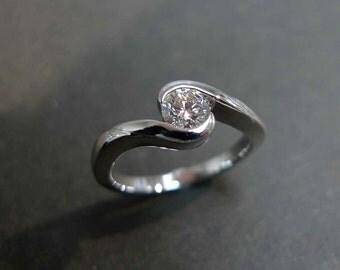 0.40ct Diamond Solitaire Engagement Ring in 14K White Gold, Diamond Wedding Band, Diamond Engagement Ring, Diamond Ring, Custom Made Jewelry