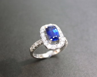 Sapphire Diamond Wedding Ring In 18K White Gold