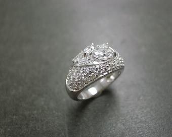 Diamond Wedding Band 14K White Gold, Marquise Diamond Ring, Emerald Cut Ring, Marquise Ring, Marquise Wedding Band, Diamond Engagement Ring