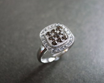 White Sapphire and Smoky Quartz Ring in 14 White Gold