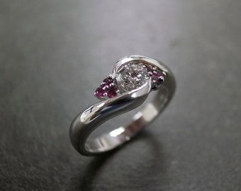 Diamond Wedding Ring with Ruby in 14K White Gold