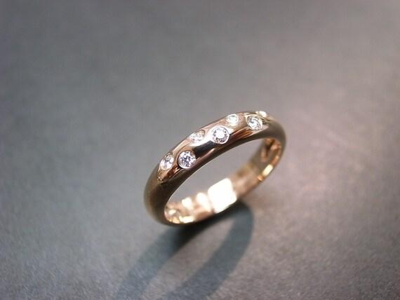 14K Rose Gold Diamond Wedding Ring, Diamond Wedding Band, Rose Gold Ring, Diamond Ring, Diamond Band, Rose Gold Wedding Band, Rose Gold Ring