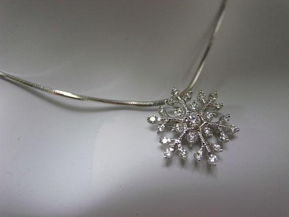 Christmas Snowflake Diamond Pendant in 14K White Gold