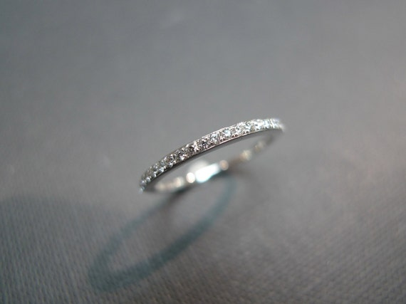 1.5mm Pave Thin Ring Wedding Engagement Diamond Rings Band Women Jewelry Gift Custom Jewellery in 14K White Gold / Yellow Gold / Rose Gold