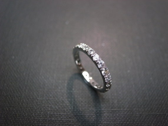 Eternity Wedding Ring with White Sapphire in 14K White Gold