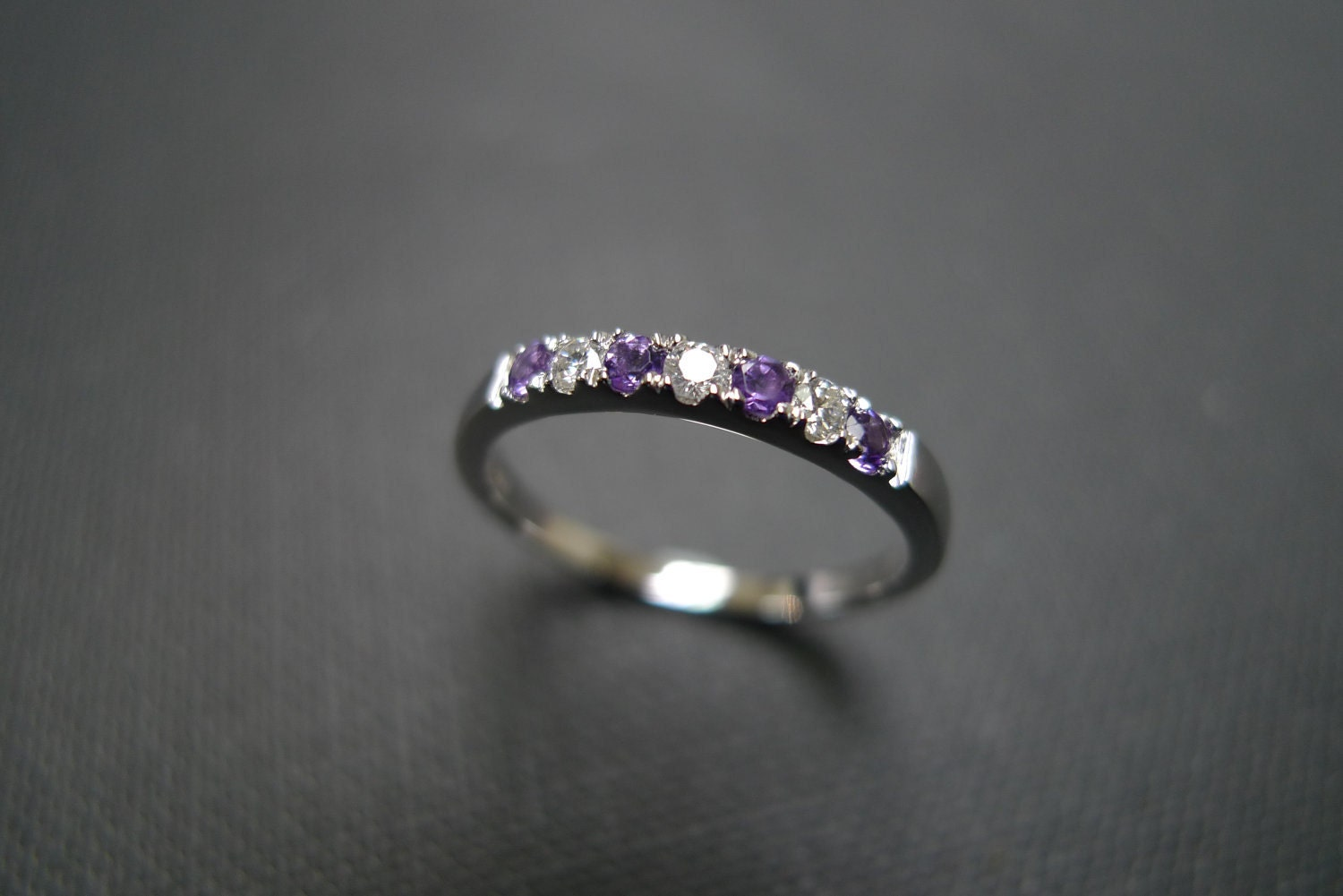 Diamond Wedding Ring With Amethyst In 14K White By