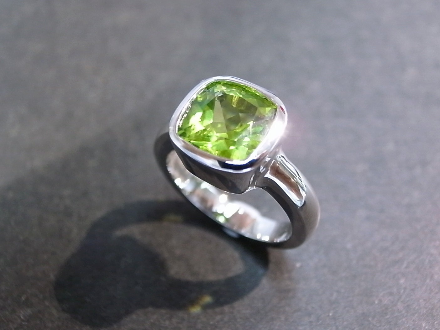 peridot wedding rings cushion peridot engagement ring in 14k white gold peridot 6465