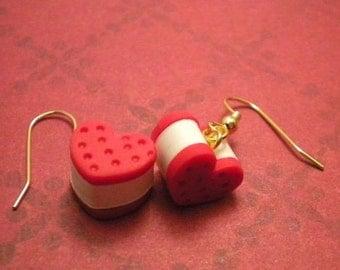 Red Velvet Heart Ice Cream Sandwich Earrings