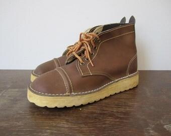 Vintage '60s Mod Deadstock Chocolate Desert Boots, US Women's Sz 5