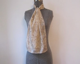 Vintage '70s Vera Neumann Tan Swirly Watercolor Long & Skinny Silk Scarf