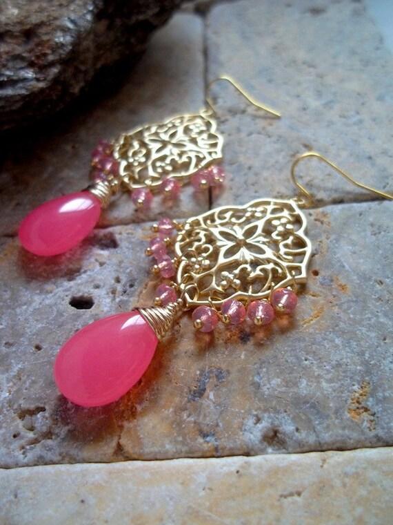 Hot Pink Jade Gemstone Chandelier Earrings Gemstone and Czech Glass Gold Filigree