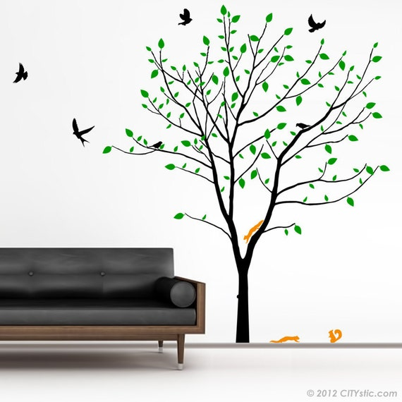 TREE WALL DECAL : Big Spring Tree wall decor kids nursery huge decal branches, birds and squirrels
