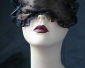 Satin Boudoir Sleep Mask in Chocolate  and Tulle spots - Bernadine - by Love Me Sugar Paris