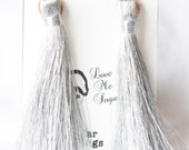 Holly Golightly Long silver tassel earplugs by Love Me Sugar  on Etsy