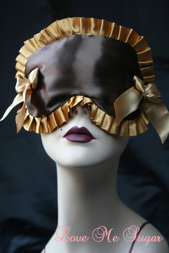 Chocolate Satin Sleepmask Eyemask with gold and bows Boudoir Burlesque Vintage Inspired MARIETTE by Love Me Sugar on Etsy