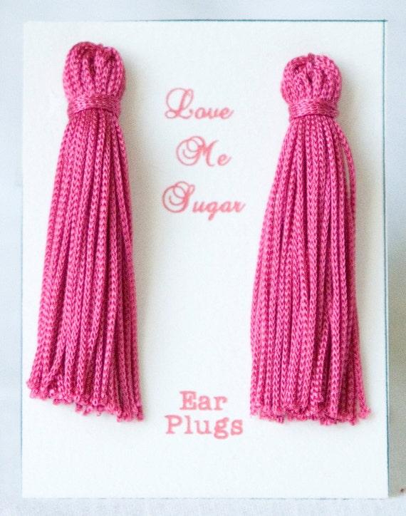 HUGE SALE - Breakfast at Tiffanys Long Tassel Earplugs choose from  dark pink or baby pink